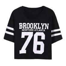 Fashion Crop Top T-shirt for Women BROOKLYN 76 Printed T Shirt Women Cropped
