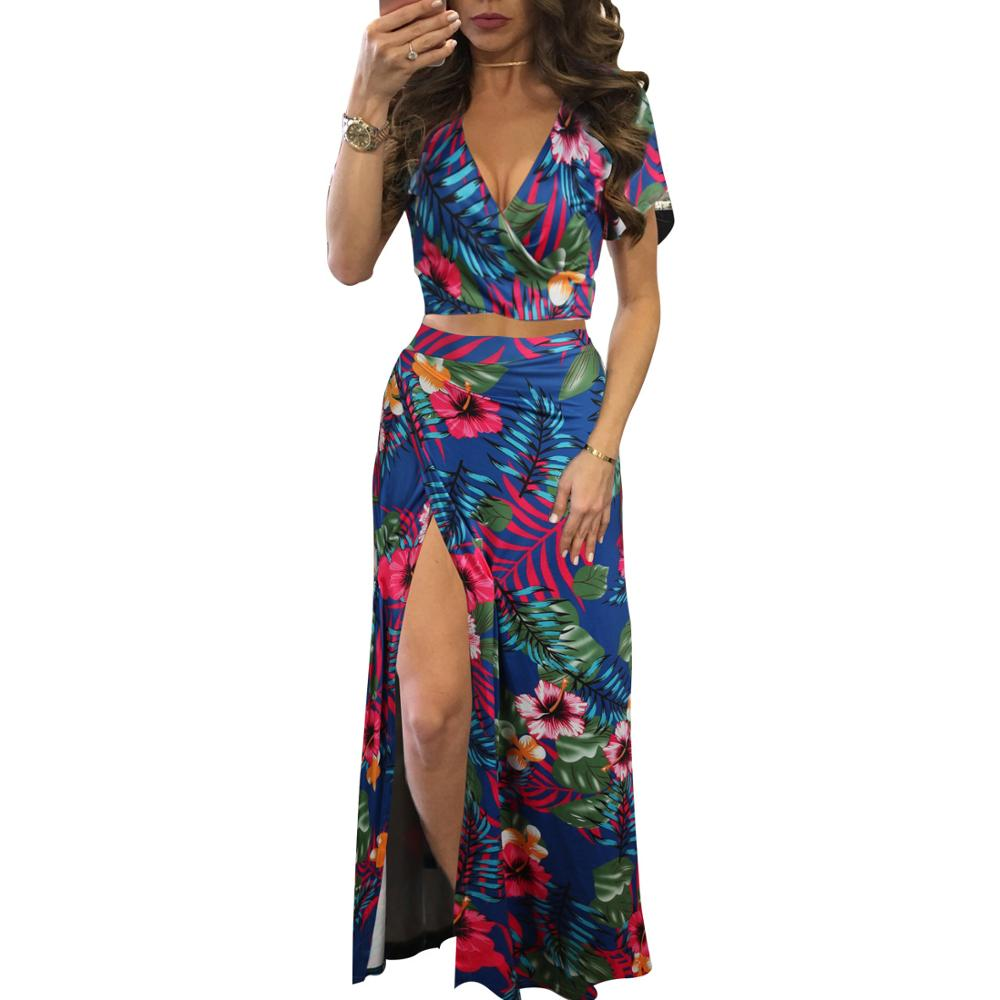Summer Two Piece Set Sexy V Neck Crop Top With Skirts High Split Elegant Beach Women Bodycon Suit Female Party Club Outfit