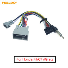 Feeldo Auto Media Speler Navi Radio Kabelboom Voor Honda Fit Stad Greiz Audio Power Cable Adapter # FD3413(China)