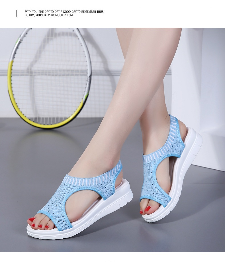 H0335cb4f59b14a7ca0ae72c6c78707ee1 WDZKN 2019 Sandals Women Summer Shoes Peep Toe Casual Flat Sandals Ladies Breathable Air Mesh Women Platform Sandals Sandalias