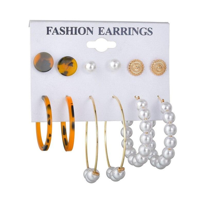 WUKALO Vintage Big Gold Circle Hoop Earrings For Women Clip on Earrings Eye Pearl Heart Earring Set  Brincos Statement Jewelry 4