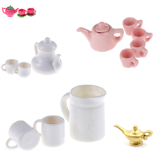 1:12Tableware Teapot Coffee Cups Saucer Tray Plate Tea Set Pot Kitchen Decor Dollhouse Miniature Christmas Gift Doll Accessories