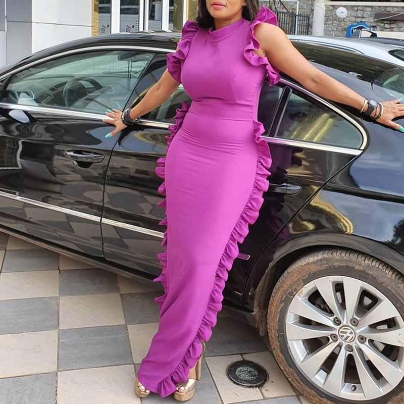 Длинные вечерние платья для женщин, 2019, рукав-бабочка, длина до пола, Сексуальные облегающие платья с высокой талией, Blck/фиолетовые элегантные женские Клубные платья