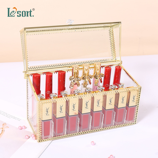24 Grids Gouden Rand Glas Lipstick Opslag Houders Koper Lipstick Make Up Cosmetische Organizer Glas Opbergdoos Met Deksel