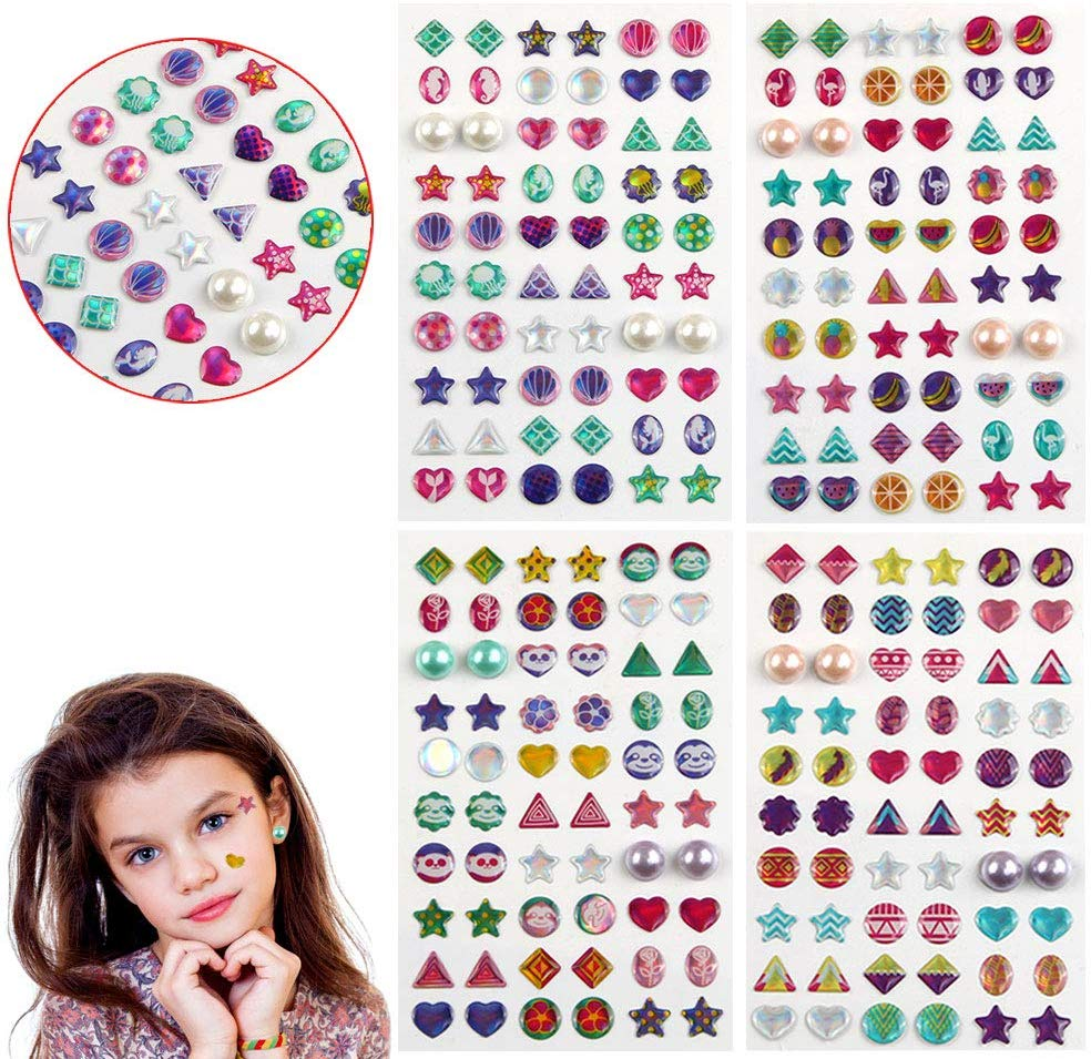 240 Pcs Sticker Earrings 3D Gems, Sticker Girls Sticker Earrings, Self-Adhesive Glitter Craft Crystal Stickers