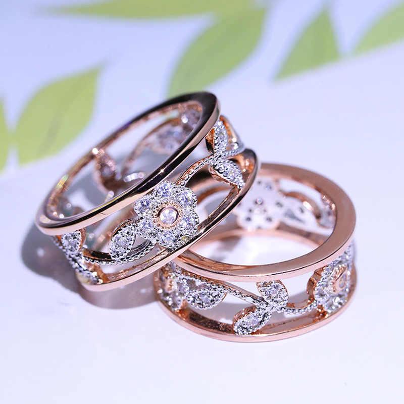 Geometrica di Cristallo Anello In Oro Rosa del Fiore di Colore Argento Anelli di Nozze Gioielli Anelli di Fidanzamento Per Le Donne 925 di Barretta Eleganti scarpe da ballo