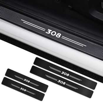 4PCS Carbon Fiber Protector Car Door Sill Plate Cover Sticker For Peugeot 308 307 206 207 Auto Door Threshold Scuff Plate Guards