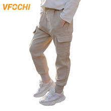 VFOCHI 2019 Brand New 5-16T Boys Pants Spring Summer Solid Color Kids Trousers Teenage Clothing Elastic Waist Boy Cargo