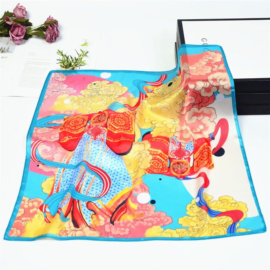 53cm Spring Silk Scarves For Women Summer Square Scarf Auspicious Clouds Bandanna Kerchief Brand Totems Neckerchief For Ladies