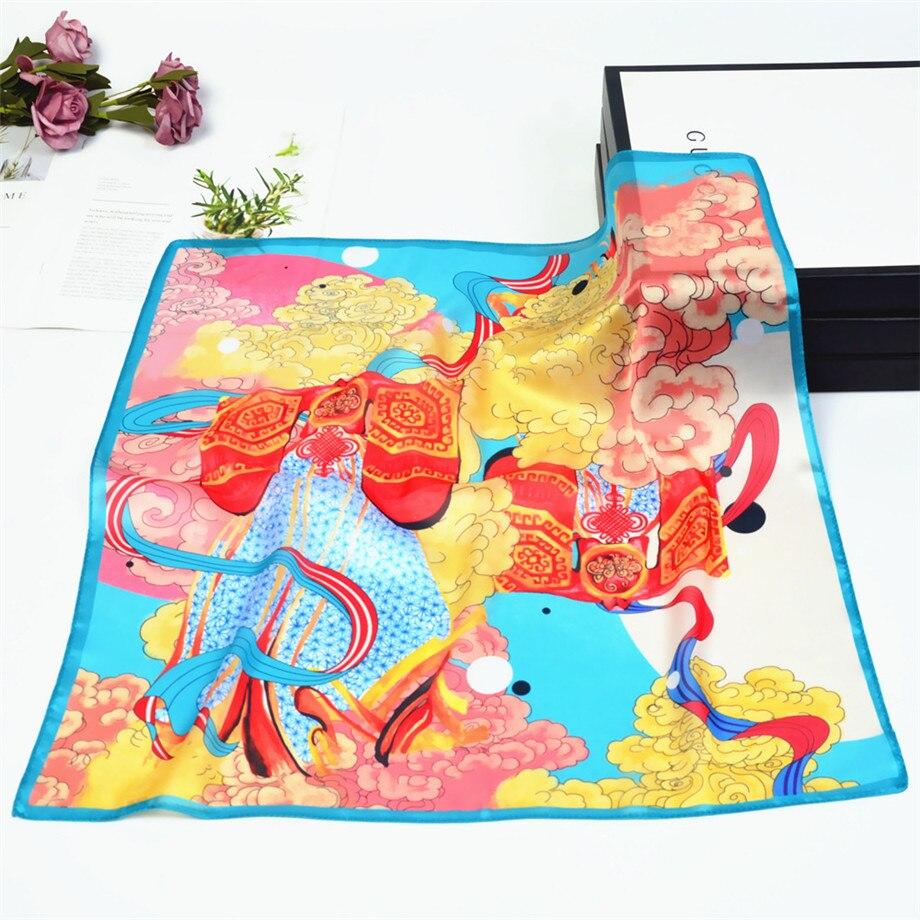 53cm Spring Silk Scarves For Women Summer Square Scarf Auspicious Clouds Bandanna Kerchief Brand Totems Neckerchief For Ladies