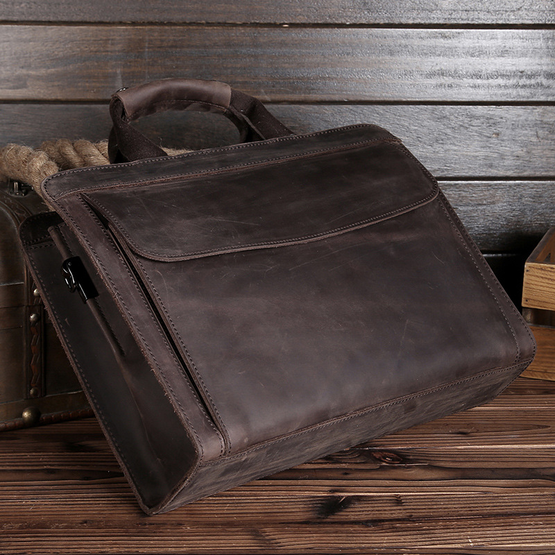 Messenger Bag Men Genuine Leather Briefcases Business Laptop Real Cow Brown Full Grain Vintage Office Computer Bags For Male0011
