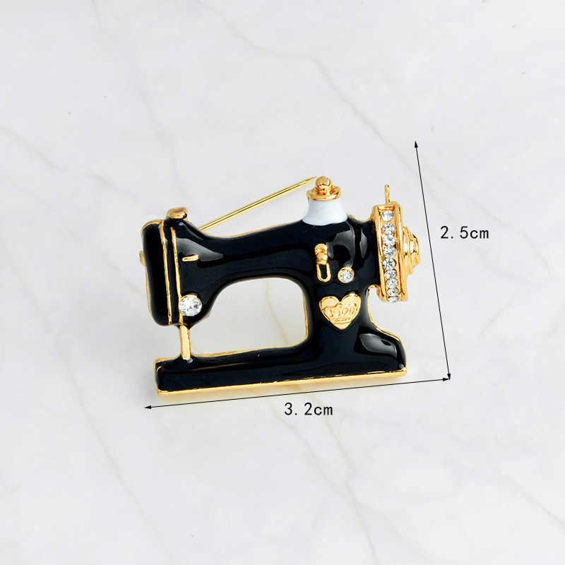 Preto máquina de costura feminina pino broches broche dedal agulha linha costureira esmalte pinos denim jaqueta pino crachá presente jóias