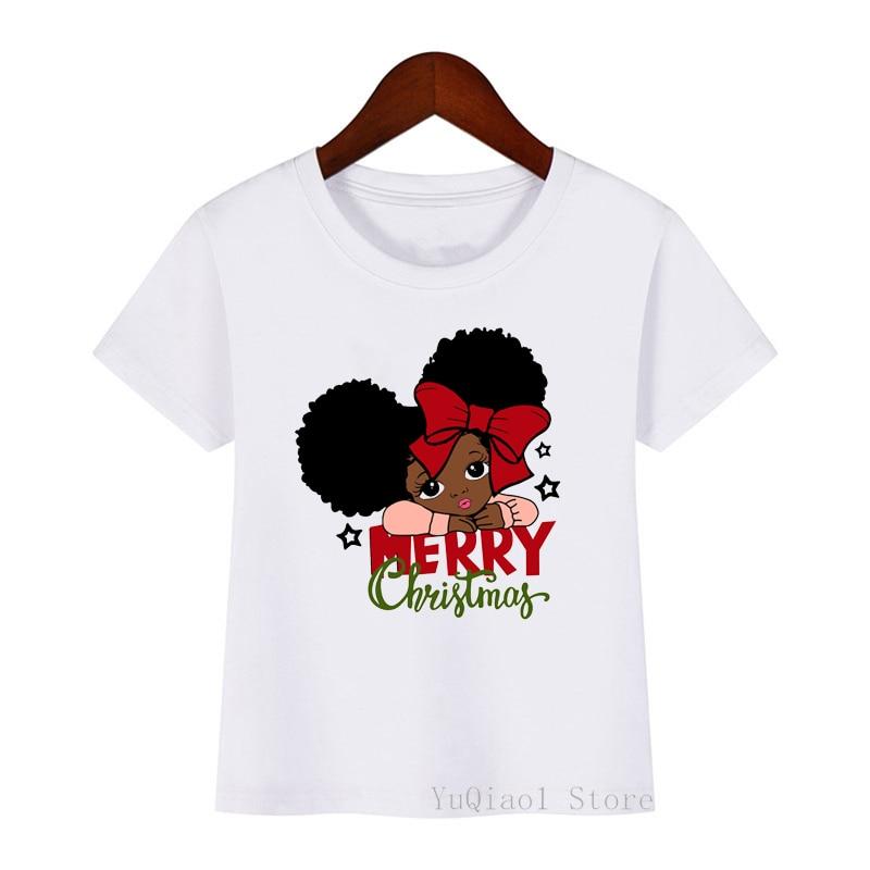 Mignon joyeux noël petite fille noire afro-américaine imprimer bébé enfants t-shirt hiver basique t-shirt enfants jeunesse haut d'été