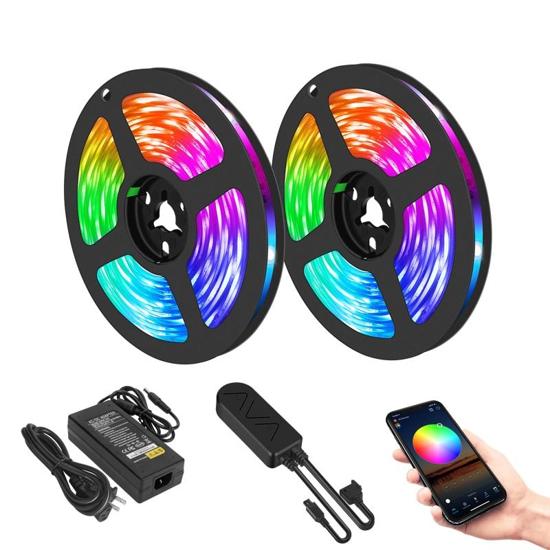 LED Strip Light 10M RGB LED 5050 Light Neon 12V Waterproof Decoration For Wall Bedroom Ambient TV Bluetooth Controller EU Plug 1