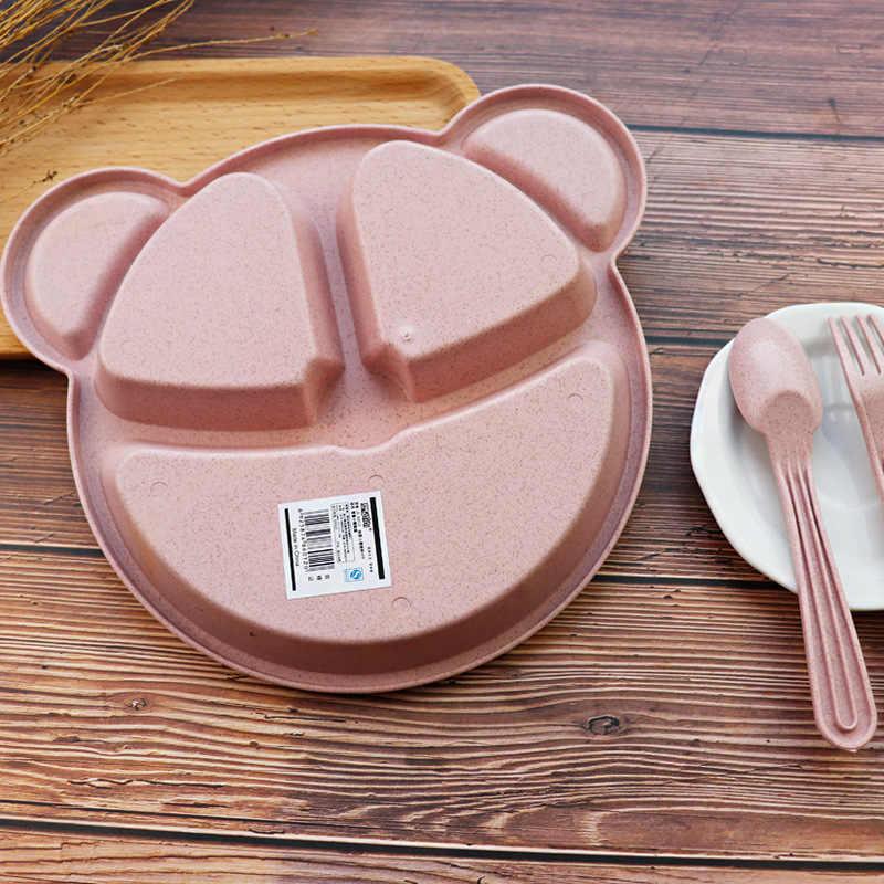 3PCS เด็กชาม + ช้อน + ส้อมอาหารบนโต๊ะอาหารการ์ตูน Panda เด็กจานกินชุดอาหารเย็นการฝึกอบรมแผ่น