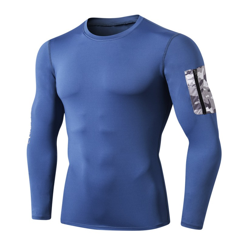 Men Casual Long Sleeve Breathable Round Collar T Shirt