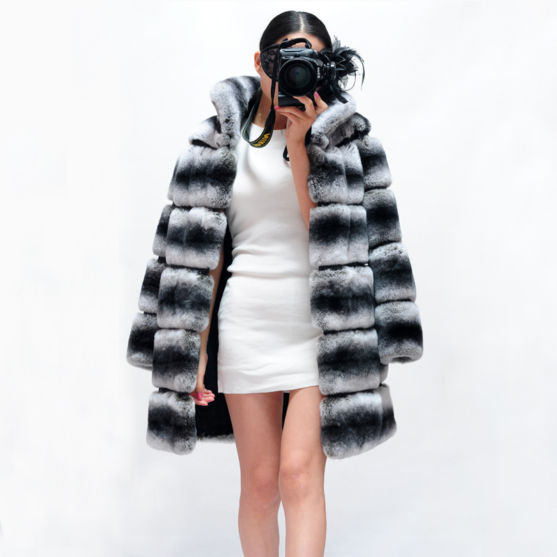 2019 Winter Jacket Women Real Fur Coat Natural Rex Rabbit Fur Thick Warm Streetwear Casual Striped Stand Collar Luxury