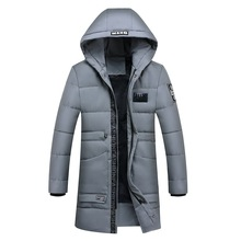 Middle and Long Cotton-padded Mens Jacket Padded Coat Youth Hooded Cotton Winter