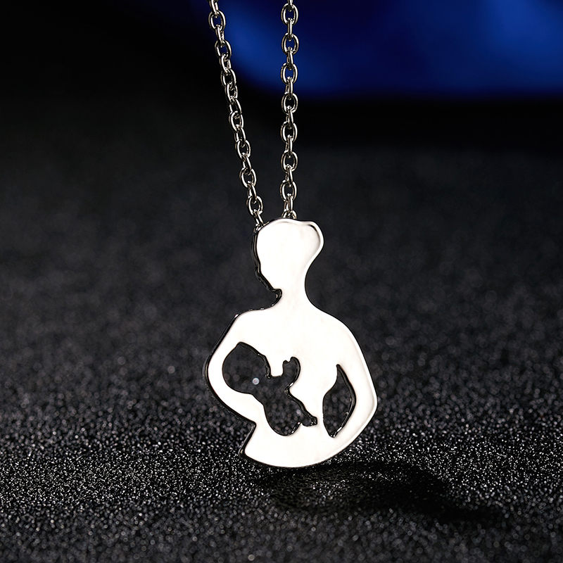Doreen Box Creative Necklace Silver Color Mother And Child Pendant Necklace Jewelry Gift 50cm(19 5/8