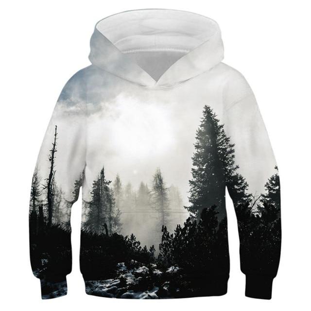 Czarny biały las 3D bluzy z nadrukiem dla nastoletnie dziewczyny chłopcy bluza z kapturem dla dzieci bluza z kapturem jesień zimowa odzież dziecięca sweter