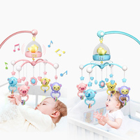 Baby Crib Mobile with Remote Controll Music Box Night Light Rotate Newborn Sleeping Bed Toys Infant Rattle For Kids Toy Gift