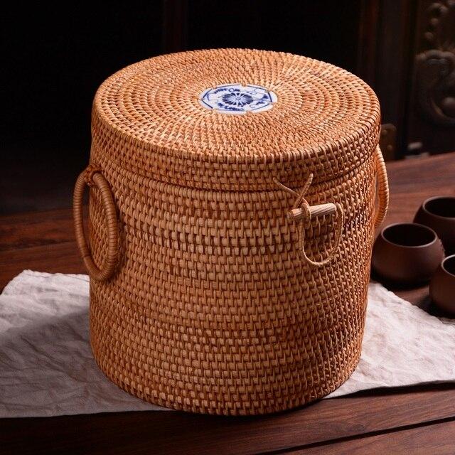 Boîte de thé en porcelaine bleue blanche   Boîte de thé Puer, faite à la main, en rotin du Vietnam, emballage de gâteaux, boîtes cadeaux, conteneur alimentaire, boîte de rangement