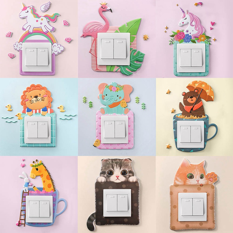 Cartoon Animal Unicorn Flamingo Switch Cover Room Decor 3D Silicone On-off Switch Sticker Luminous Switch Outlet Wall Sticker