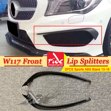 W117 Sports Car Front Lip Splitters Wing Spoiler For Benz CLA-W117 Air Flow Vent 2-pcs ABS CLA180 2013-2016
