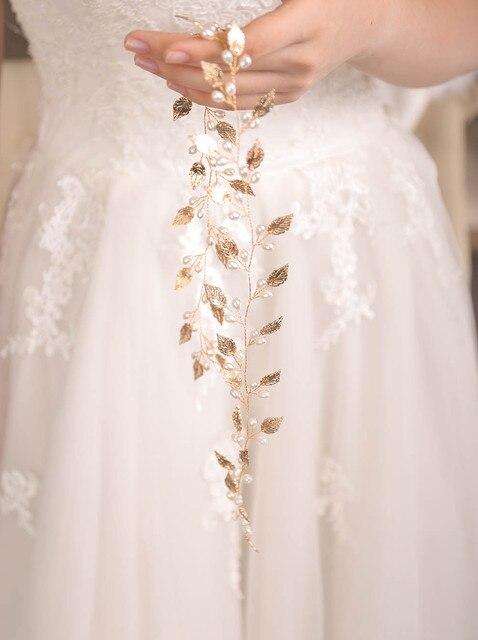 Fxmimior  Bridal Handmade Leaf Pearls Headband Headpiece wedding rose gold hair vine Wedding Bridal Hair Accessories 5
