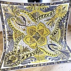 Gardon Printing Scarf Twill Silk Scarves Women Female Shawls Wraps Large Luxury Brand Design 140*140cm Handmade Hemming