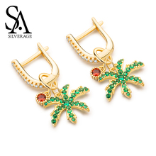 SA SILVERAGE Silver Woman S925 Sterling Oasis Coconut Earrings Female Long Temperament 2019 New Wave