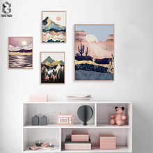 Abstract Landscape Mountain Forest Girl Wall Art Canvas Painting Nordic Posters And Prints Wall Pictures For Living Room Decor цена и фото