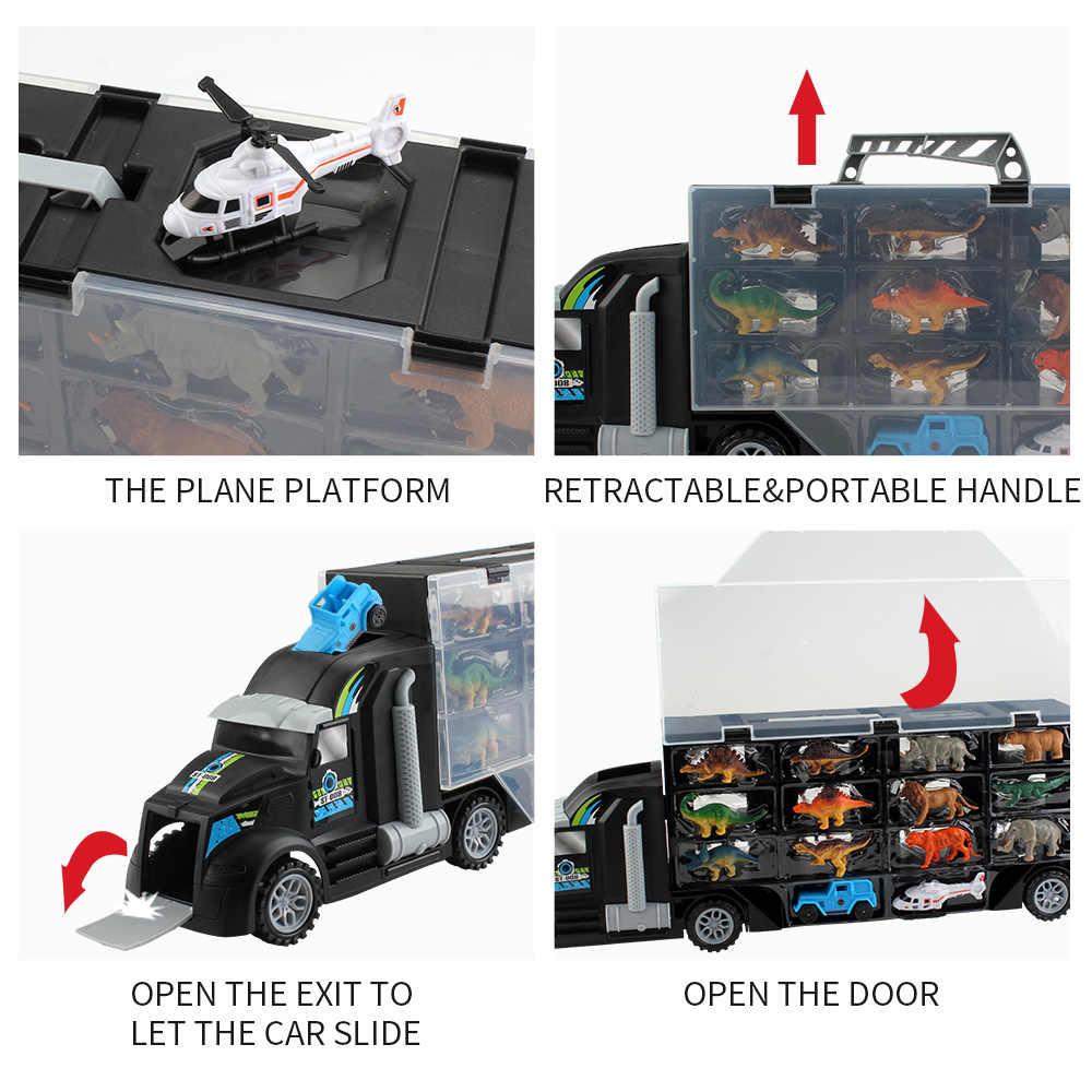 דינוזאורים וחיים בטבע חיות רכב רצועת תחבורה משאית צעצועי (כולל 6 דינוזאורים 6 חיות, jeep ומסוק) תיבת צבע