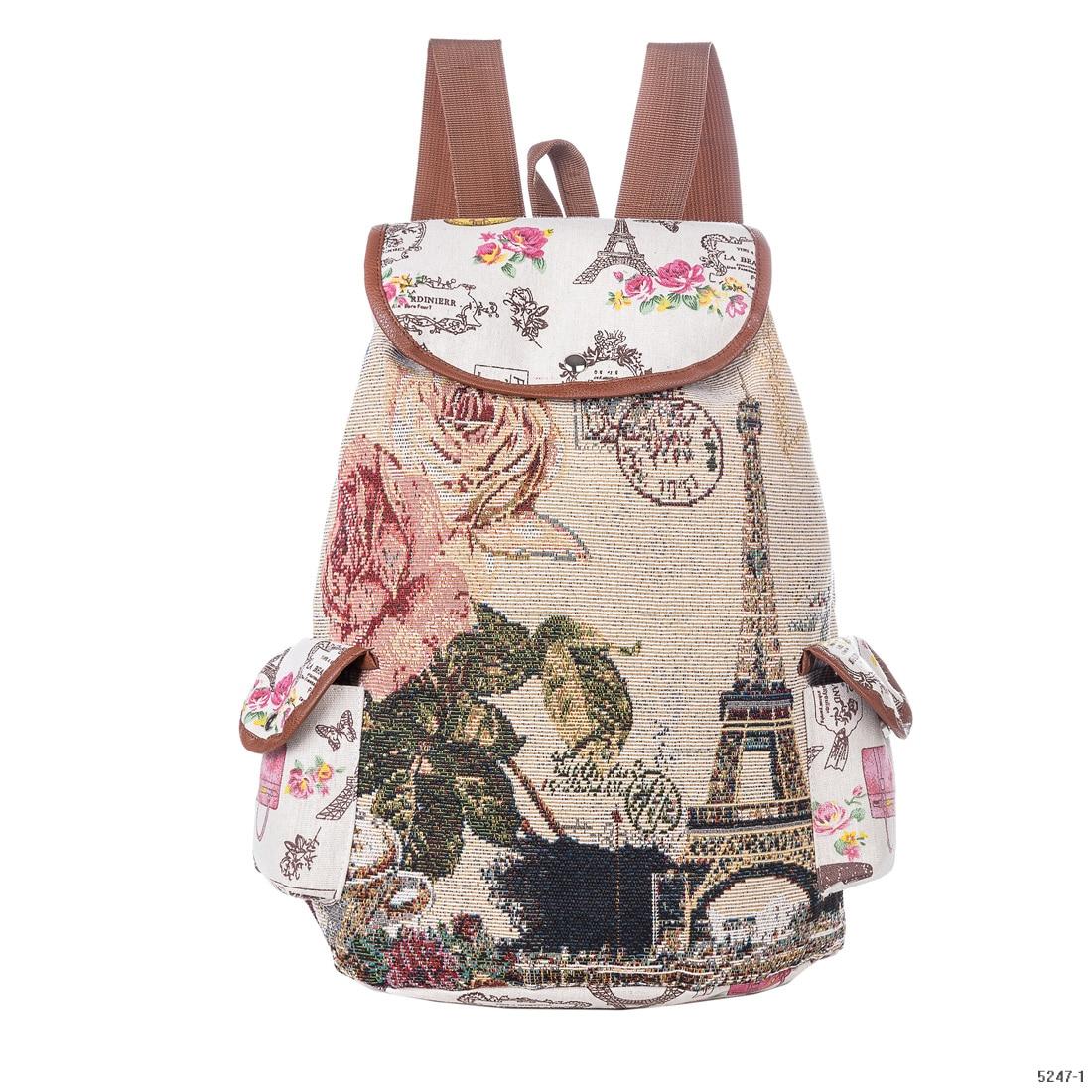 School Bag For Teenager Girl Travel Mochila Cute Brids Pinted Backpacks Drawstring Backpacks Girls School Bags Eiffel Tower