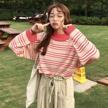 Korean Striped Crop Sweater Women Preppy Style Hit Color Loose Pink Winter Autumn All-match Chic Sweet Kawaii Pull Femme