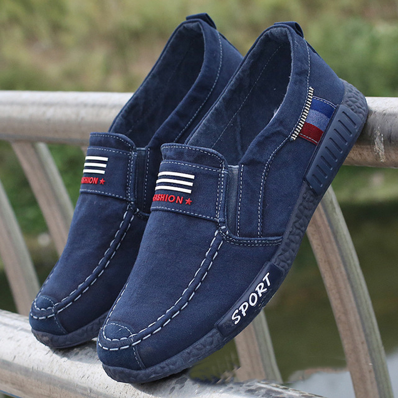 2020 Men Sneakers Flat Men Canvas Shoes Spring Denim Shoes Breathable Casual Shoes Loafers Chaussure Homme Big Size 38 - 46