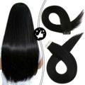 Moresoo Virgin Tape in Hair Extensions Black Color Double Drawn Thick End Real Human Hair