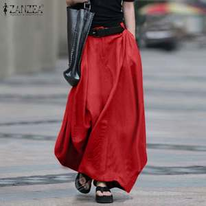 ZANZEA Maxi Skirts Button-Robe Sundress Elastic-Waist Elegant Long Cotton Plus-Size Women's