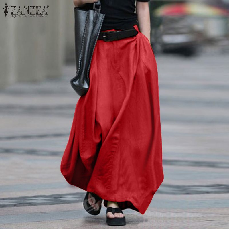 Elegant Cotton Maxi Skirts Women's Spring Sundress 2020 ZANZEA Summer Elastic Waist Long Vestidos Female Button Robe Plus Size 7