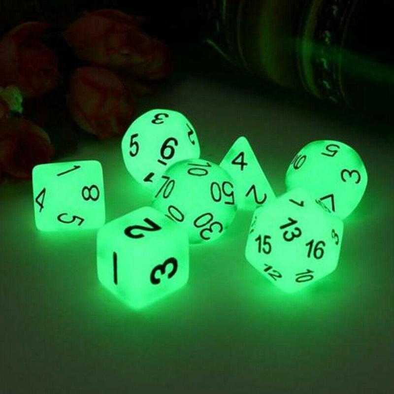 7 шт./компл. светящиеся многогранные игральные кости D4 D6 D8 D10 D12 D20 Набор для подземелья и дракона D & d Поли ролевая игра B36F
