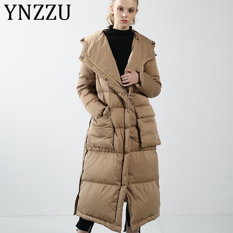 YNZZU Luxury Vintage Solid Women's   Down   Jacket 2019 Winter Long Style Thicken Warm Hooded Goose   Down     Coat   Female Outwears A1102