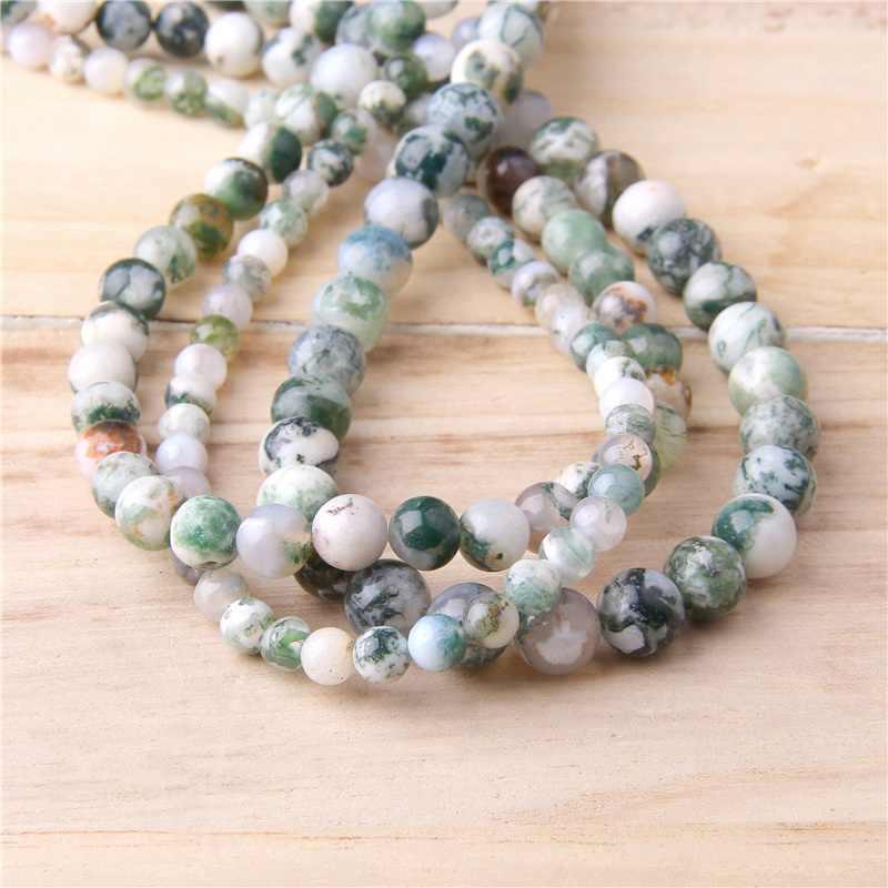 טבעי ירוק עץ Agates אבן חרוזים Loose spacer agates חרוזים קסם עבור תכשיטי ביצוע צמיד שרשרת רקמה Accessorie