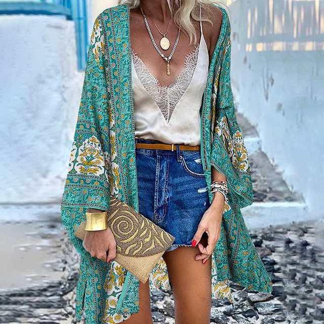 ZANZEA Women Cardigan Summer Open Front Bohemian Floral Printed Blouse Kimono Casual Loose Beach Tops Vintage Long Sleeve Blusas 1