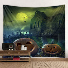 Halloween background dark castle, crazy zombie polyester print tapestry