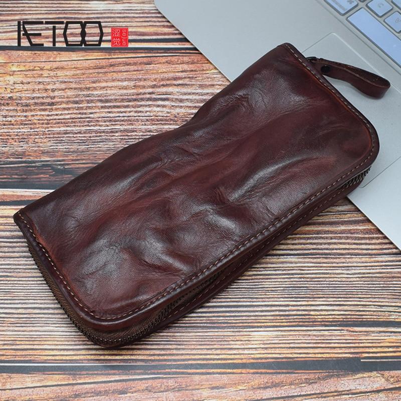AETOO Handmade tanning cowhide handbag hand grab bag card bag multi card men leather long wallet