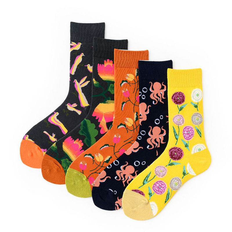 Autumn And Winter Men Funny Pattern Crew Sock Women Floral Print Short Socks EU Size 37-45 1 Pair