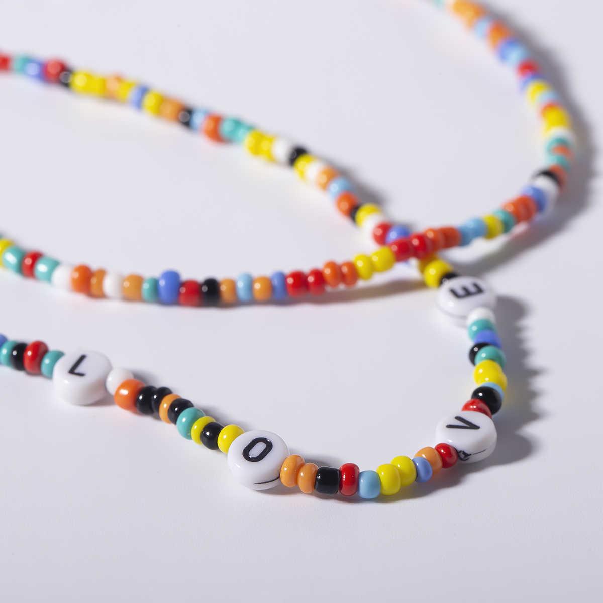 Gotycka miłość list serce Choker naszyjnik Choker Punk Handmade Rainbow małe koraliki perła naszyjnik łańcuch dla kobiet upominki świąteczne