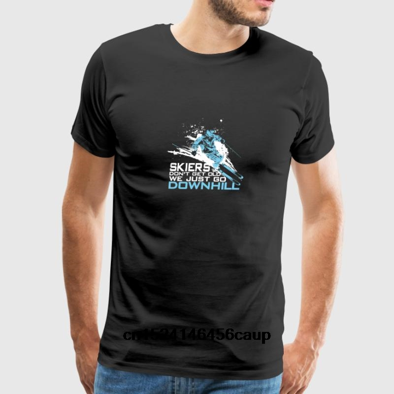 100% Cotton O-neck Custom Printed Men T shirt Skiers Don t Get Old We Just Go Downhill Women T-Shirt