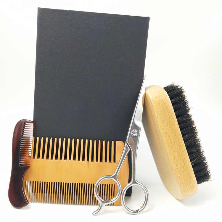 Barba Capelli Set per La Cura di Barba Pettine Forbici Blocchi di Costruzione Maiale Nero Giallo Testa Pennello Odm