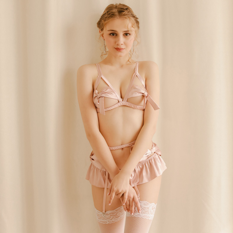 Women Cosplay Sexy Pink Young Girl Topless Uniform Suit Sexy Lingerie Set Costume Perspective Bowknot Underwear Kawaii Lingerie